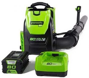 greenworks pro backpack leaf blower, battery powered leaf blower, 80 volts battery leaf blower