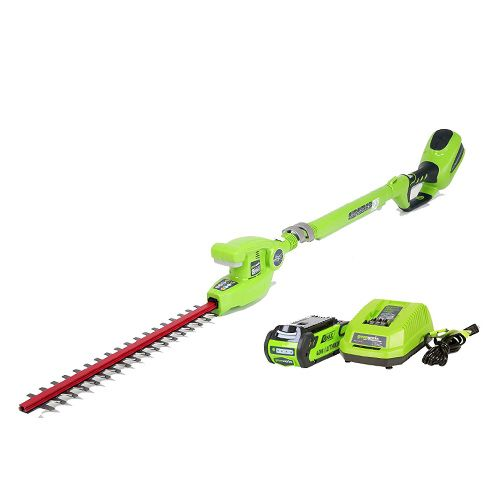 greenworks telescopic hedge trimmer, pole hedge trimmer